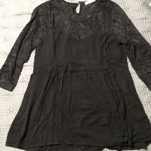 Black lace top peplum maternity blouse Small